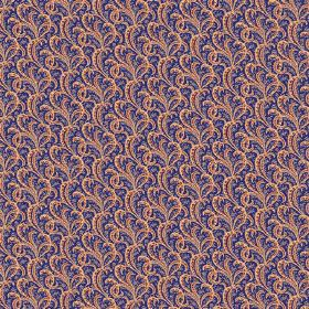 Topa (Cotton) - 7 - Dark blue cotton fabric as a background to small swirls in shades of creamy brown