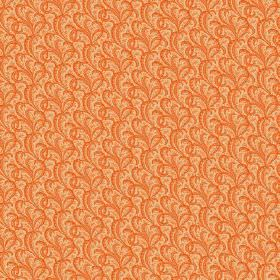 Topa (Linen Union) - 9 - Bright orange swirls printed on a linen fabric in a slightly lighter shade of orange