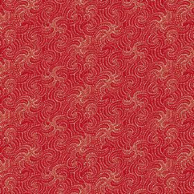 Zangla (Linen Union) - 2 - Red wavy lines with dotted edges patterning this linen fabric