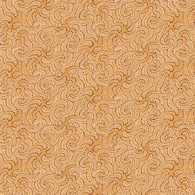 Zangla (Linen Union) - 4 - Fabric in linen which is mostly sandy in colour, with a pattern of wavy lines with dotted borders