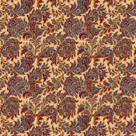 Kalanga (Cotton) - 4 - Swirling flowers and leaves in shades of dark blue, green and red on a magnolia coloured cotton fabric background