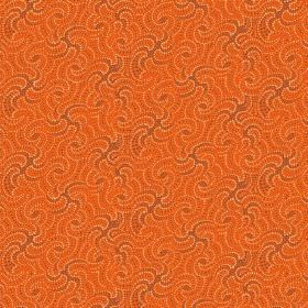 Zangla (Cotton) - 5 - Wavy line printed cotton fabric in shades of brown and bright orange
