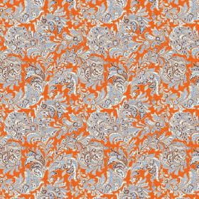 Kalanga (Cotton) - 5 - Fabric made from bright orange cotton, with a pattern of light grey and ice blue coloured leafy swirls