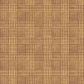 Chemrey (Cotton) - 1 - Brown and straw coloured checked cotton fabric which gives a woven effect