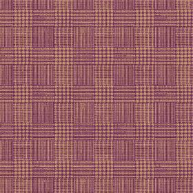 Chemrey (Linen Union) - 3 - Checked purple and brown linen fabric with a woven effect