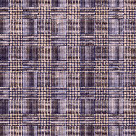 Chemrey (Linen Union) - 4 - Checked, woven linen fabric in light brown and navy blue