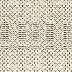 Cornelia (Cotton) - 1 - Tiny grey flowers with black borders printed in rows on cream coloured cotton fabric