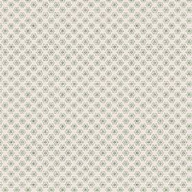 Cornelia (Linen Union) - 2 - Duck egg blue flowers arranged in straight lines and printed on plain white linen fabric