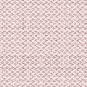 Cornelia (Cotton) - 3 - White cotton fabric printed with rows of tiny pale pink flowers