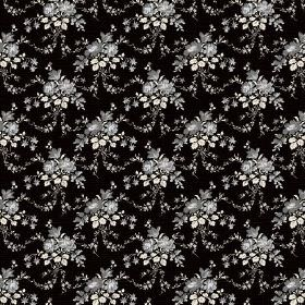 Daphne (Cotton) - 1 - Garlands of grey and white flowers draped across a cotton fabric background in solid black