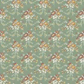 Daphne (Linen Union) - 3 - Green, white, gold and white linen fabric with a draped floral design
