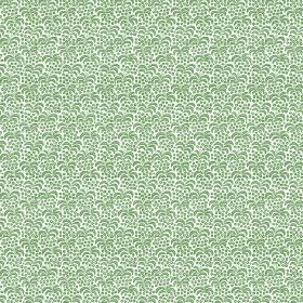 Flavia (Linen Union) - 3 - White linen fabric printed with small bright green dots and curves over the entire surface
