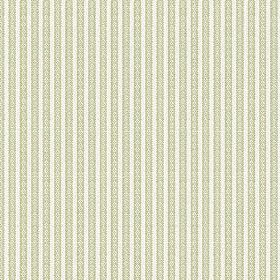 Flore (Cotton) - 3 - Green and white cotton fabric featuring patterned stripes