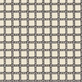 Madeline (Linen Union) - 1 - Horizontal and vertical patterned black stripes woven through each other and printed on a cream linen backgroun