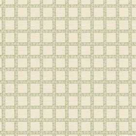 Madeline (Linen Union) - 2 - Linen fabric in cream printed with widely spaced, patterned, woven light green stripes