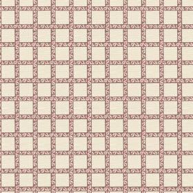 Madeline (Linen Union) - 3 - Patterned dark red-pink stripes interwoven across cream coloured linen