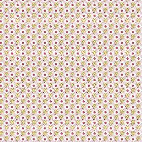 Olivia (Cotton) - 2 - Dark red dots and minute citrus coloured flowers printed on a light pink cotton fabric background
