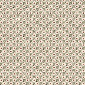Olivia (Linen Union) - 3 - Green-grey, cream and dark red patterned linen fabric