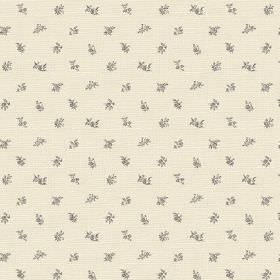 Beatrice (Linen Union) - 1 - Linen fabric in cream, printed with a pattern of tiny grey flowers