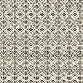 Pascale (Cotton) - 1 - Cream coloured cotton printed with dark grey stripes and a repeated geometric pattern