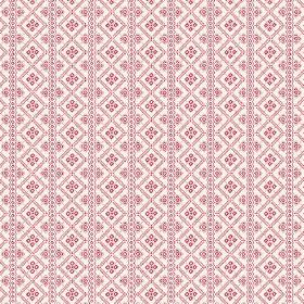 Pascale (Cotton) - 2 - A pattern of pink squares and stripes printed onto white cotton fabric