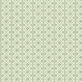 Pascale (Cotton) - 3 - Off-white cotton fabric as a background for a bright green stripe and geometric print pattern