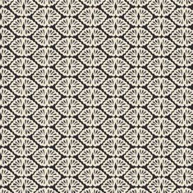 Patty (Linen Union) - 1 - A black linen fabric background with shapes of looped cream lines printed across it