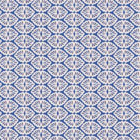 Patty (Linen Union) - 2 - Rows of white looped shapes patterning a royal blue linen fabric background
