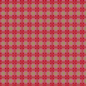 Safia (Cotton) - 2 - Very bright red, pink and green-brown checked cotton fabric