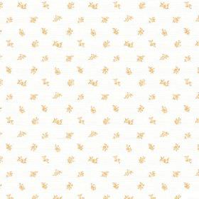 Beatrice (Linen Union) - 2 - Gold coloured flowers scattered as a miniscule pattern over a white linen fabric background