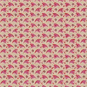 Teresa (Cotton) - 2 - Dark pink stylised leaves printed alongside brown leaves on cream coloured cotton fabric
