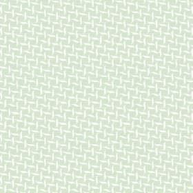 Maria (Cotton) - 3 - Small white wavy shapes arranged in lines and printed across a very pale green cotton fabric background