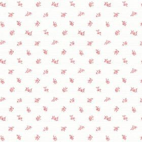 Beatrice (Cotton) - 3 - Clusters of tiny pink flowers printed on bright white cotton fabric