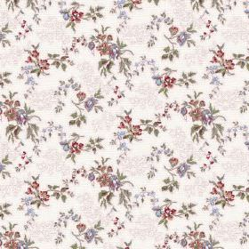 Camilla (Cotton) - 2 - White and grey patterned fabric with a small design featuring red, blue and green florals