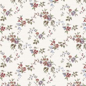 Camilla (Cotton) - 3 - Floral print cotton fabric in red, blue and green on a crisp white background