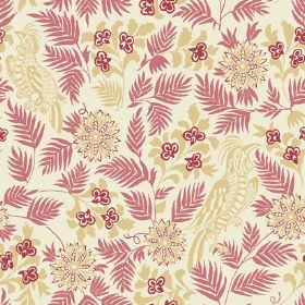 Pardalote (Linen Union) - 1 - Birds, leaves and flowers in light red and green against a background of off-white linen