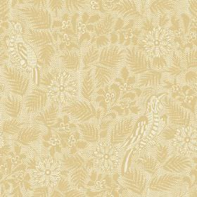 Pardalote Damask (Linen Union) - 2 - A design of gold coloured birds, flowers and leaves printed on linen fabric in a much paler shade