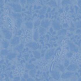 Pardalote Damask (Cotton) - 3 - Bird, leaf and flower print cotton fabric in several different shades of cobalt blue