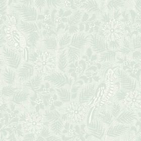 Pardalote Damask (Linen Union) - 4 - Linen fabric in a pale duck egg blue colour, featuring a subtle design of exotic birds, leaves and flow