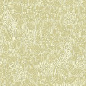 Pardalote Damask (Linen Union) - 5 - Linen fabric in several different shades of light green, with a pattern of birds, leaves and flowers