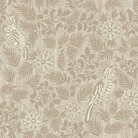 Pardalote Damask (Linen Union) - 6 - Mocha coloured leaf, flower and bird designs printed on a light grey linen fabric background