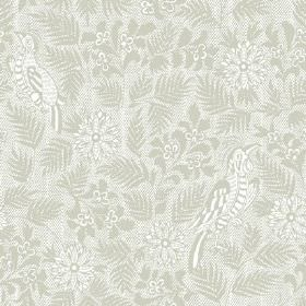 Pardalote Damask (Linen Union) - 7 - Fabric made from linen with grey flowers, leaves and birds on a very pale grey background