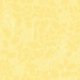 Pardalote Damask (Cotton) - 8 - Yellow cotton fabric with a subtle pattern of sweeping leaves, exotic birds and flowers