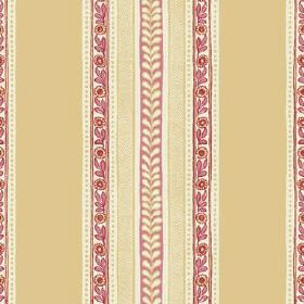 Jacana (Linen Union) - 1 - Linen fabric featuring vertical mustard yellow stripes between narrow bands with gold and pale red flowers and le