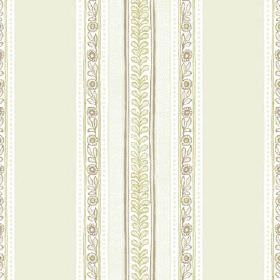 Jacana (Cotton) - 3 - Floral and leafy stripes between wide pale green bands, vertically printed on white cotton fabric