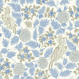 Pardalote (Linen Union) - 2 - A background of white linen fabric for a cobalt blue and grey pattern featuring sweeping leaves, exotic birds
