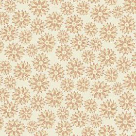 Oriole (Linen Union) - 1 - Linen fabric in off-white, with flowers in the colours of light red-brown and light yellow