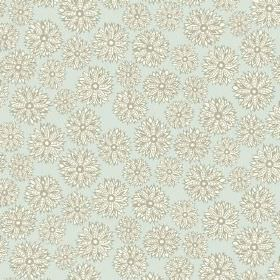 Oriole (Linen Union) - 2 - Grey and white flowers printed repeatedly over fabric made from very pale blue linen