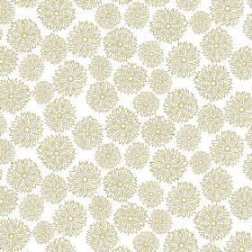 Oriole (Linen Union) - 3 - Small and medium sized spiky flowers in light green and grey, printed on white linen fabric