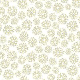 Oriole (Linen Union) - 4 - Spiky flowers in white and green with grey outlines, printed on white linen fabric